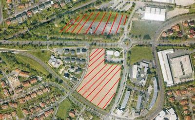 Luftbild von Kaufungens Mitte mit schraffierten Flächen für die Bebauung