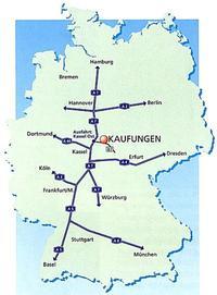 Karte der Verkehrsanbindung nach Kaufungen